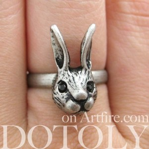 SALE - Miniature Adjustable Alice Bunny Rabbit Animal Ring in