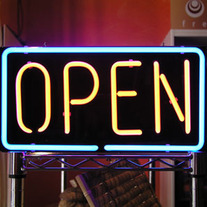 """Open"" Sign Hanging Neon Light"