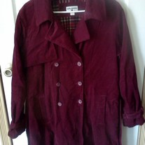 Kathy Ireland Burgundy Cordoruy Jacket XL