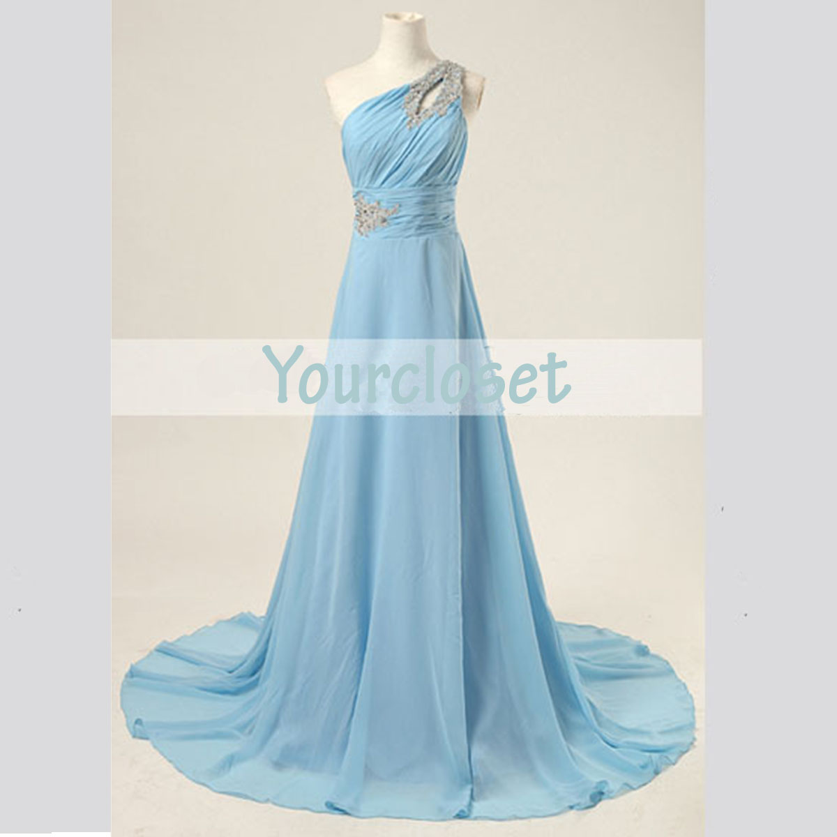Prom Dresses Light Blue One Shoulder - Boutique Prom Dresses