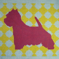 Mod Westie Pillow Canvas on 13 Mesh