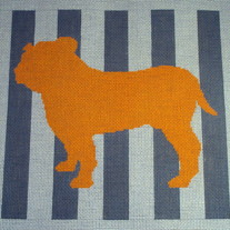 Mod Bulldog Pillow Canvas on 13 Mesh