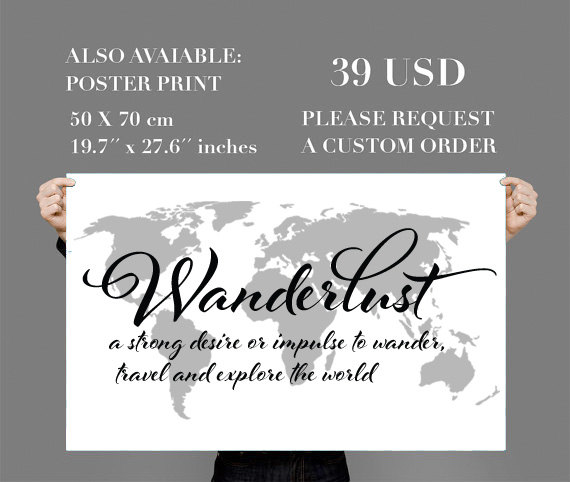 Wanderlust travel quote world map wall art decal moonwallstickers wanderlust travel quote world map wall art decal thumbnail 2 gumiabroncs Gallery