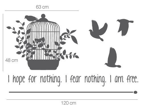 Hope Fear Free Vinyl Quote Birds Cage Sticker