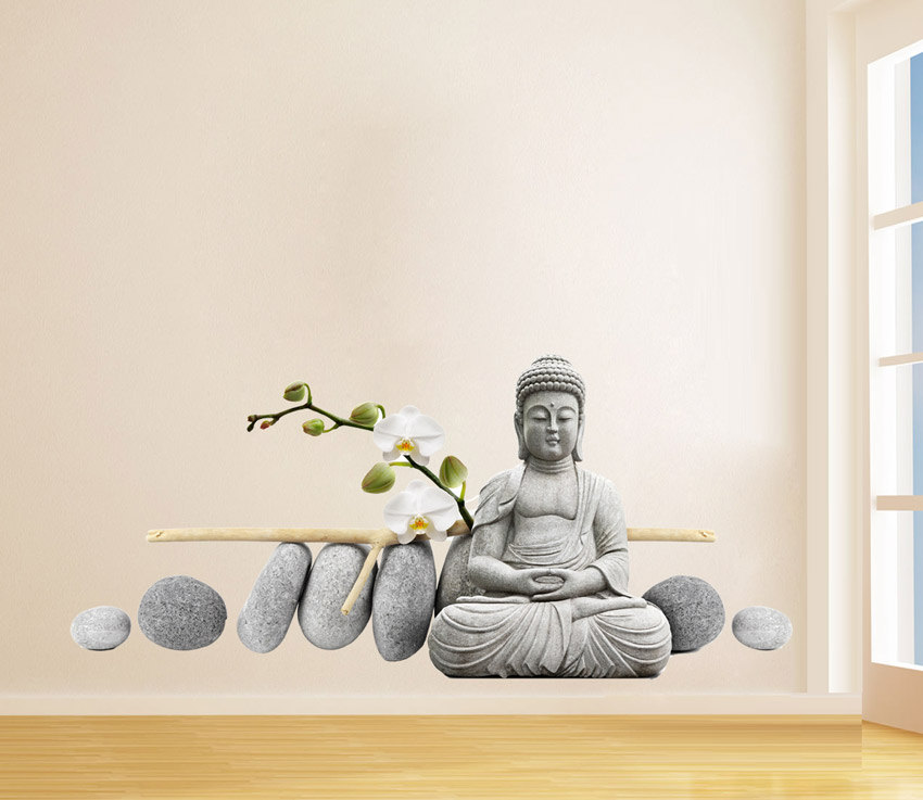 buddha statue sitting figure decor wall sticker online store powered by. Black Bedroom Furniture Sets. Home Design Ideas