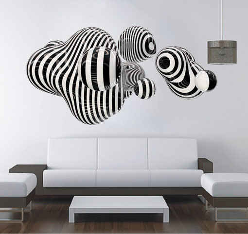 3d shape wall art abstract sticker op art online store powered by storenvy. Black Bedroom Furniture Sets. Home Design Ideas