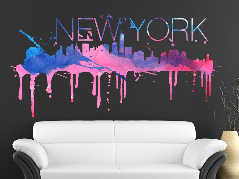 New York Watercolor Skyline Vinyl Wall Decal Part 83