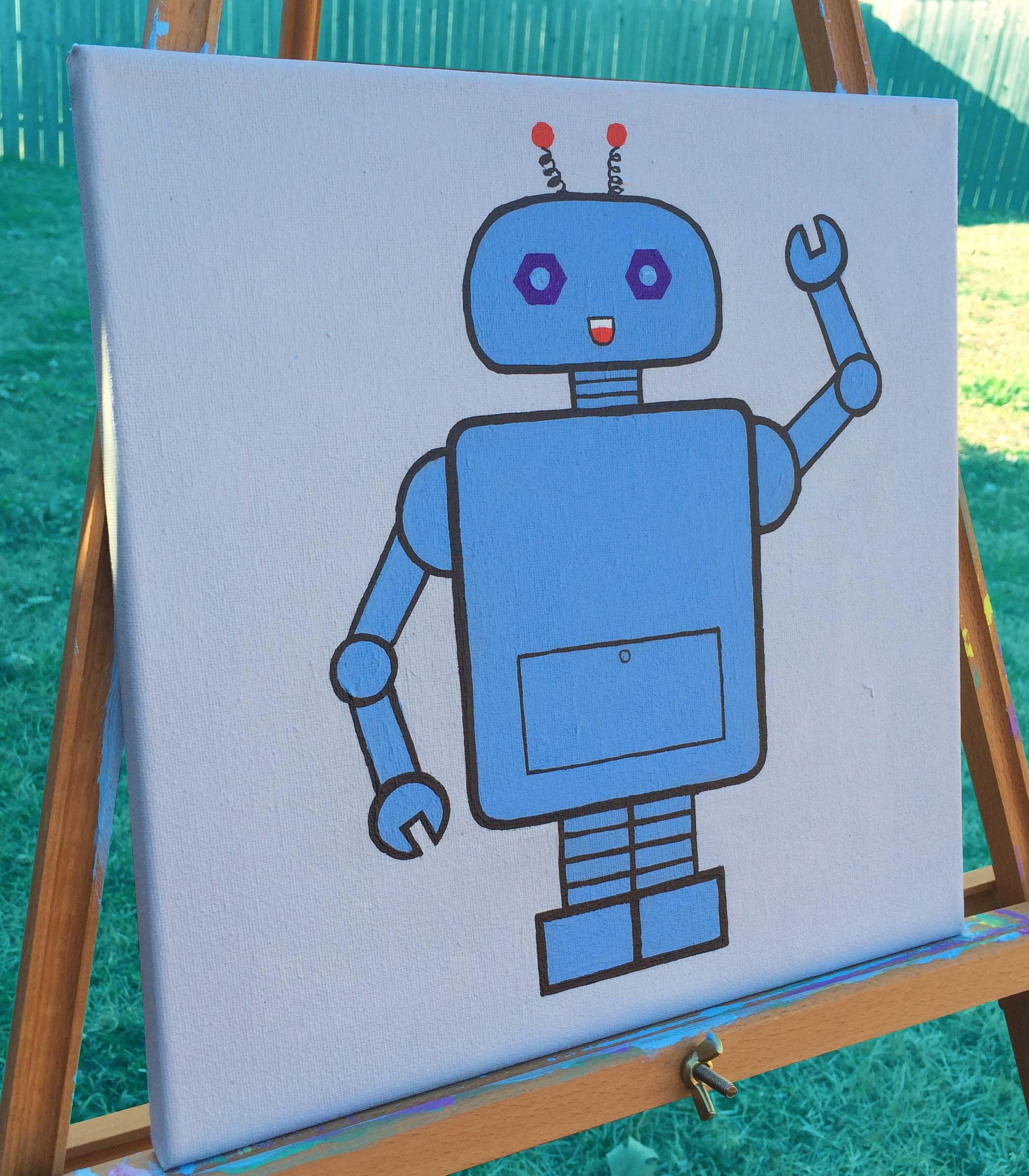 Original hand made robot nursery wall art 12 x 12 for Robot baby room decor