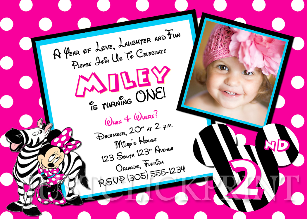 Zebra Minnie Mouse Birthday Photo Invitation Printable Just - Minnie mouse birthday invitation message