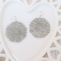 Soft White Filigree Cutout Brass Earrings