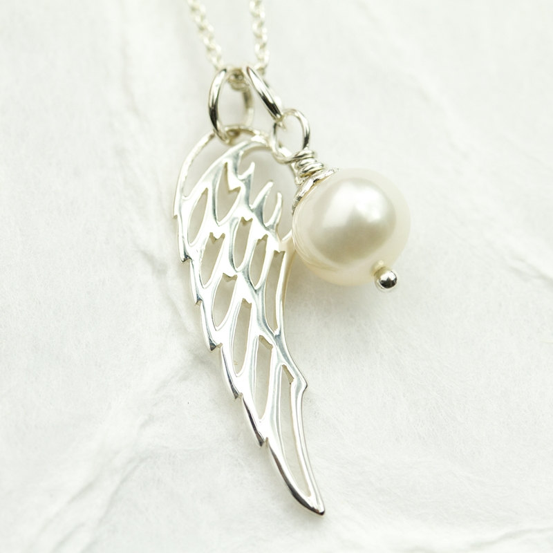 Miscarriage necklace remembrance necklace miscarriage jewelry miscarriage necklace remembrance necklace miscarriage jewelry sterling silver angel wing with freshwater pearl aloadofball Images