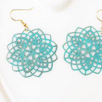 Teal Filigree Brass Cutout Earrings
