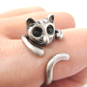 Kitty Cat Shaped Animal Wrap Around Ring in Silver - Sizes 7 to 9 Available