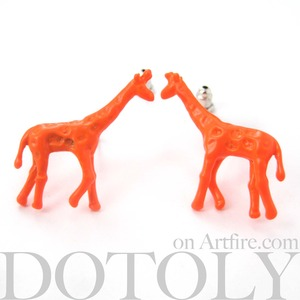 Neon Orange Giraffe Toy Animal Stud Earrings