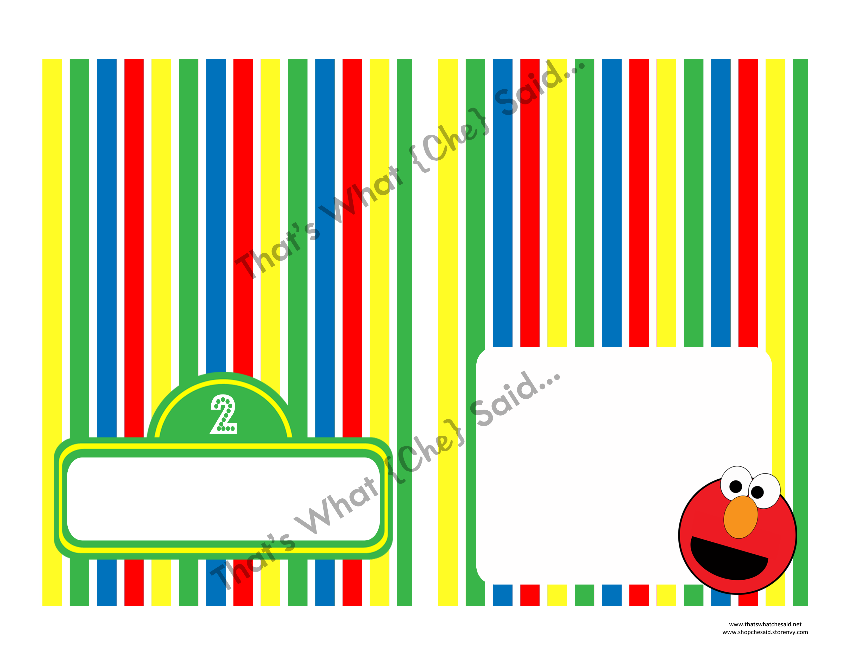 Elmo Sesame Street Food Drink Tent Cards