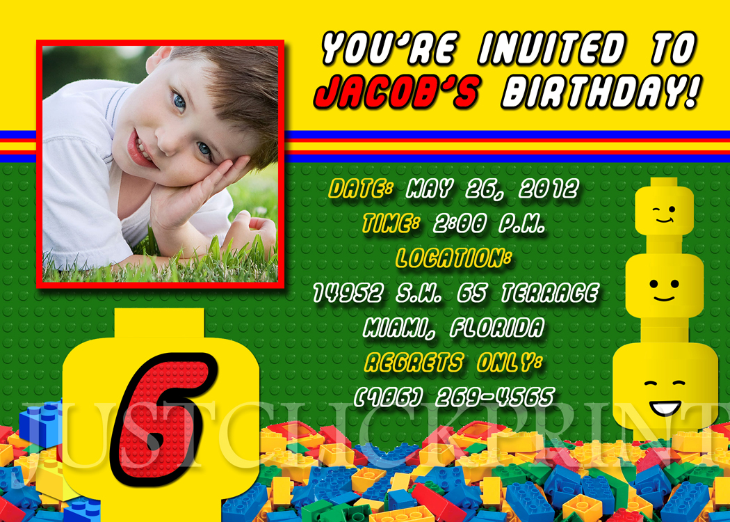 Lego Building Blocks Birthday Photo Invitation Printable Just - Lego birthday invitation template free