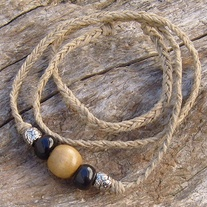 Natural Hemp Choker with Black Horn Wood and Silver Beads