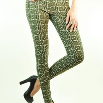 Printed Crazy Print Pattern Mid-Rise Stretch Cotton Skinny Pants Blue or Olive Green SML