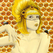 Queen Bee - Fine Art Print 5x7 - Honey bees yellow flowers Apiphilia