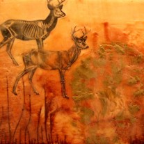 amber deer wax encaustic - original mixed media painting 10x12