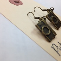 Camera Brass Earrings