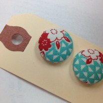 Aqua and Red Print Earrings