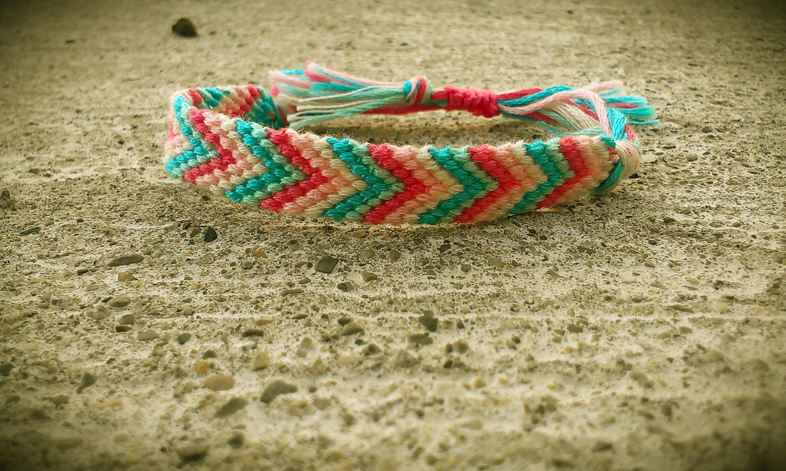Chevron bracelet - Chevron Friendship Bracelet Cotton Candy