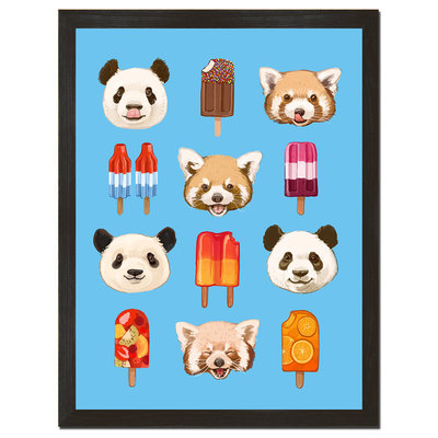 Pandas and popsicles 18 x 24 art print