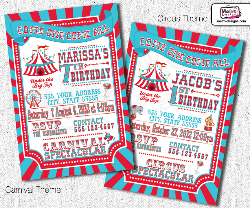 Traditional Carnival and Circus Invitations MetroEvents Party