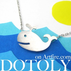 Cute Happy Whale Sea Animal Necklace In Silver - Allergy Free Titanium