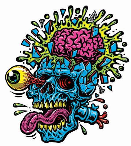 skull blast full color shaped vinyl sticker thumbnail 1