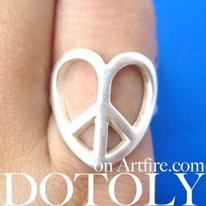 Love and Peace Heart Shape Peace Sign Outline Cut Out Ring Size 6 ONLY