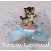 Ribbon Kitty bow 2 way clip