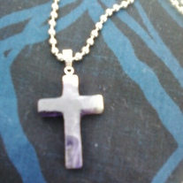 Hand carved stone Cross necklace