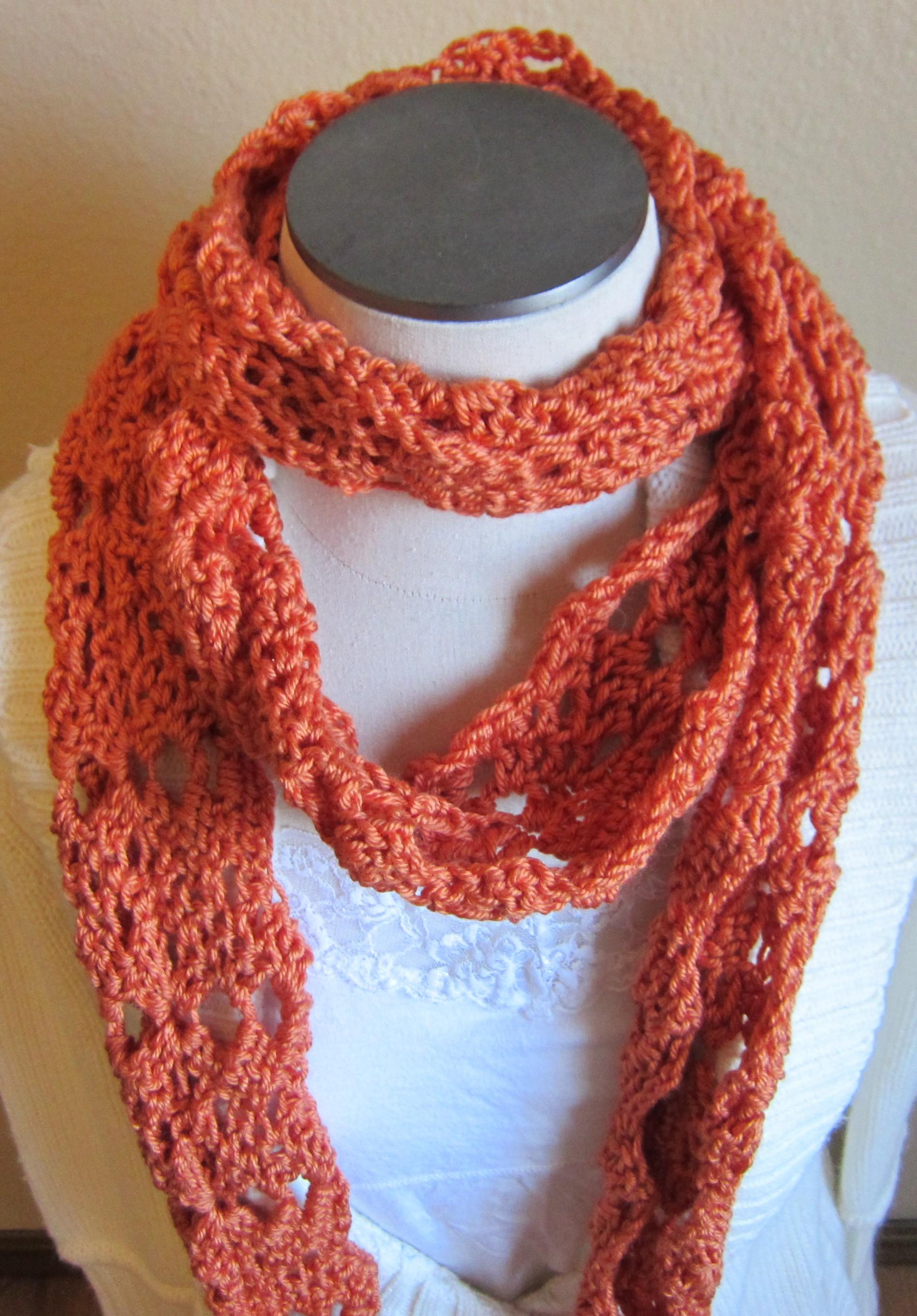 crochet scarf in pumpkin soft yarn
