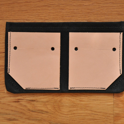 Bifold wallet - black waxed canvas + leather