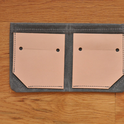 Bifold wallet - charcoal waxed canvas + leather