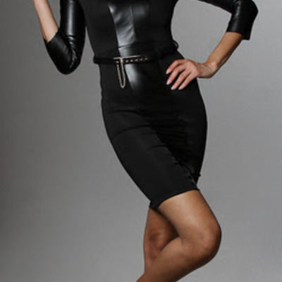 Belted faux bodycon dress