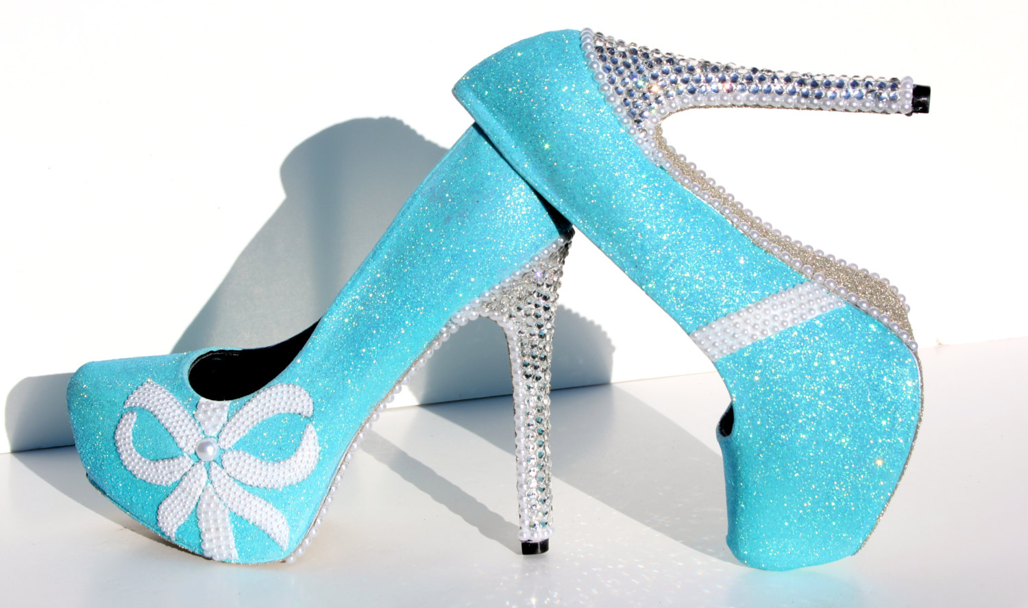 Tiffany blue glitter heels with swarovski crystals and pearls tiffany blue glitter heels with swarovski crystals and pearls thumbnail 4 junglespirit Image collections