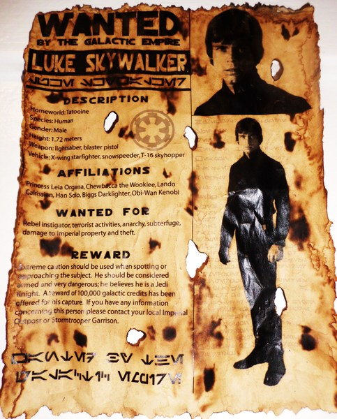 Luke Skywalker Wanted Poster 8x11 On Storenvy