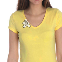 Skull Womens Tee, Yellow