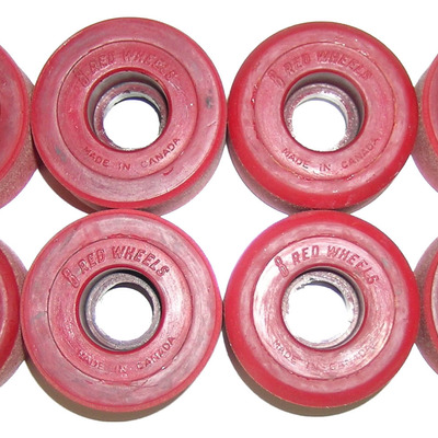 Canadian reds vintage roller skate wheels - brick red