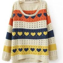 Colorful Stripes and Heart Print Curved Hem Long Sleeve Sweater