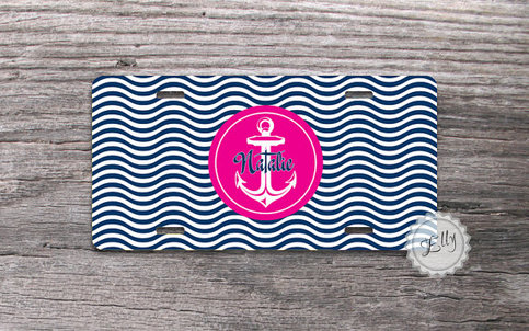 Custom License Plate Hot Pink Anchor Monogram With Waves