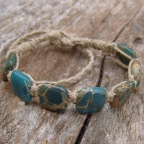 Aqua Terra Jasper Bead and Natural Hemp Bracelet