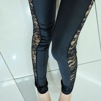 Lace and Faux Leather Leggings