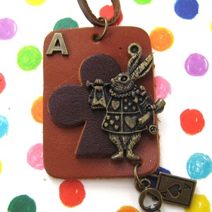 Ace of Clubs Bunny Rabbit Animal Necklace in Leather with Charms