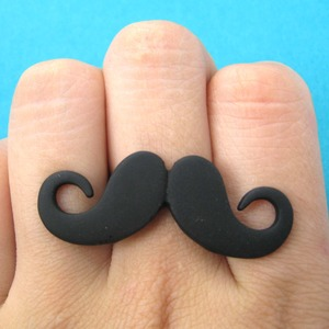 Adjustable Large Moustache Mustache Ring in Matte Black