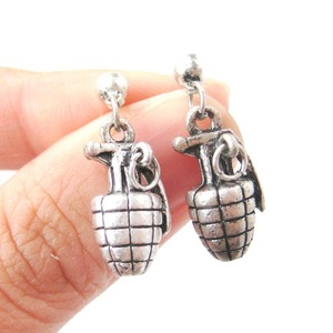 Detailed Bomb Grenade Ammo Shaped Dangle Stud Earrings in Silver