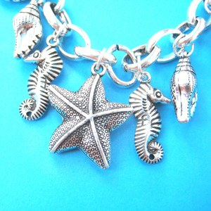 Seahorse Starfish Dolphin Sea Creatures Themed Charm Necklace in Silver